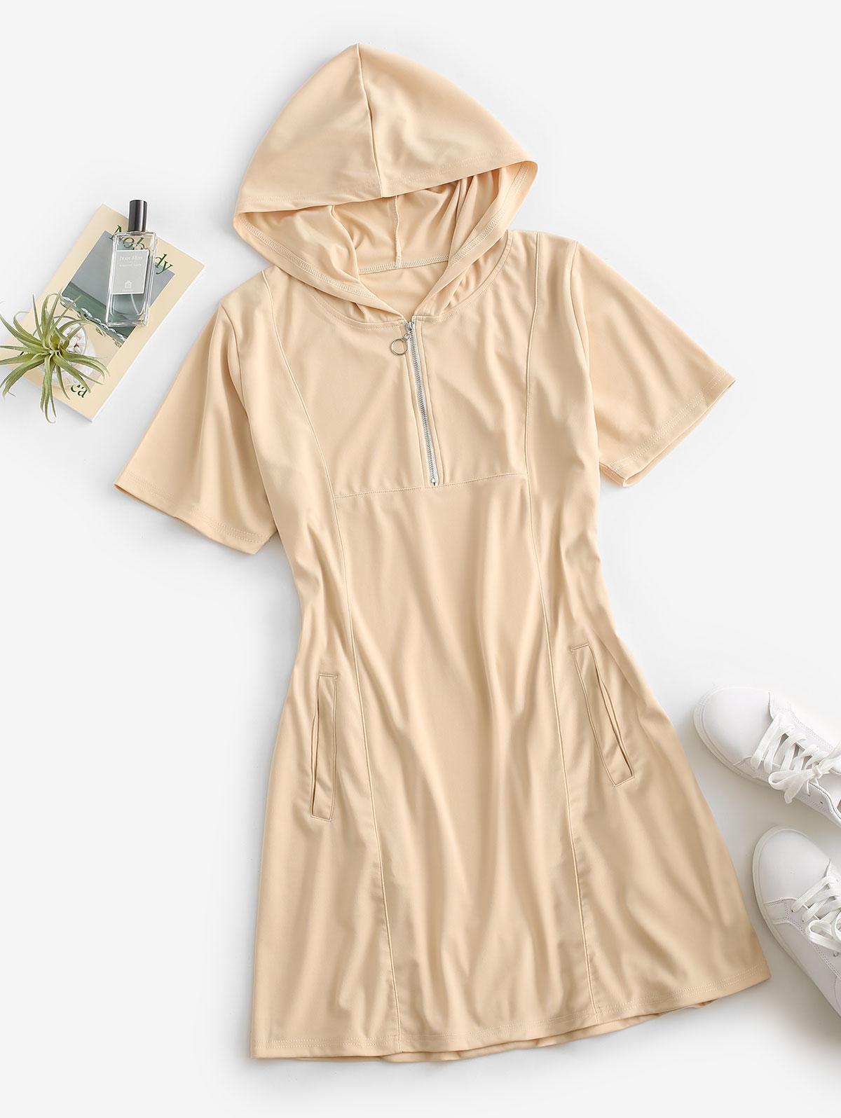 Pockets Zip Front Hooded Mini Dress