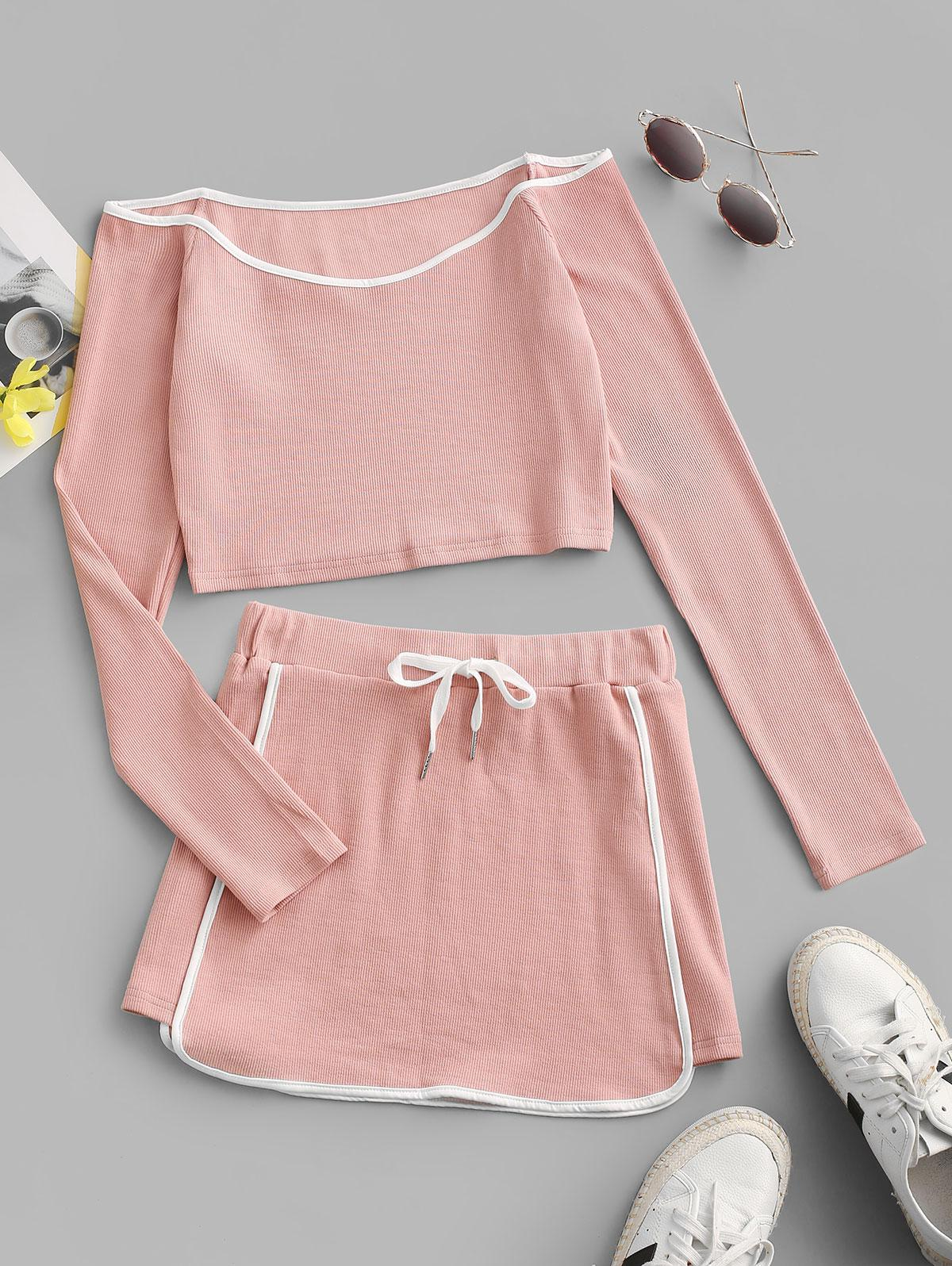 ZAFUL Contrast Piping Ribbed Off Shoulder Two Piece Dress