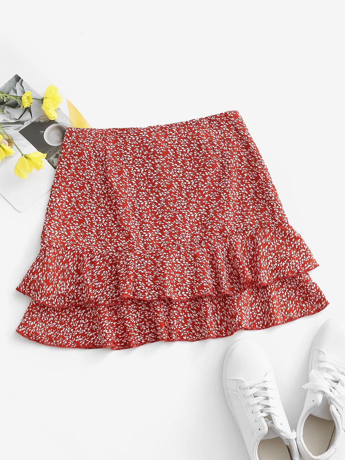 Ditsy Print Layered Ruffle Skirt