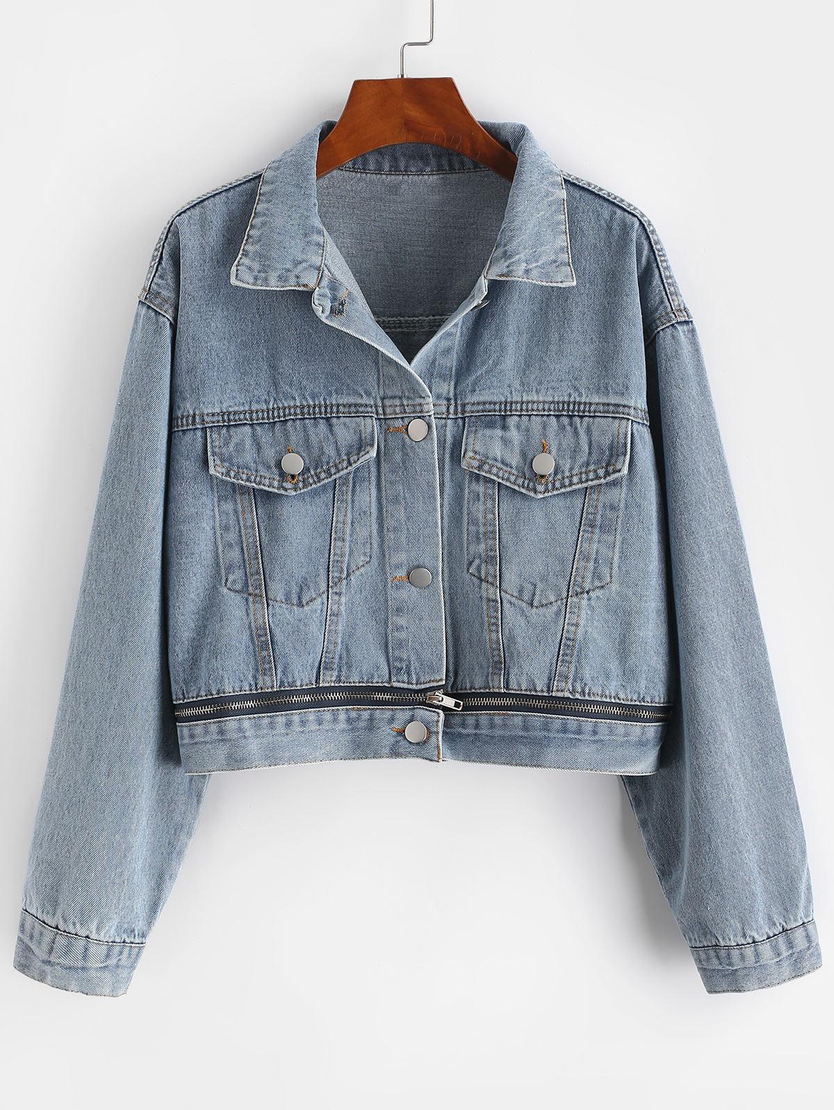 Button Up Zippered Hem Denim Jacket