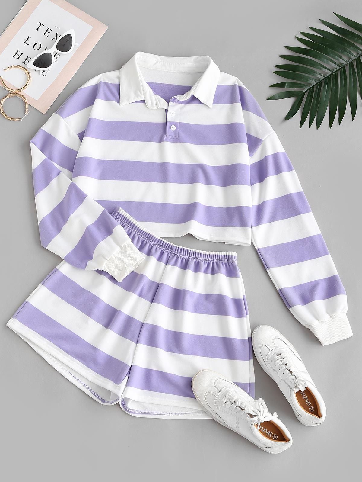 Striped Button Placket Drop Shoulder Shorts Set