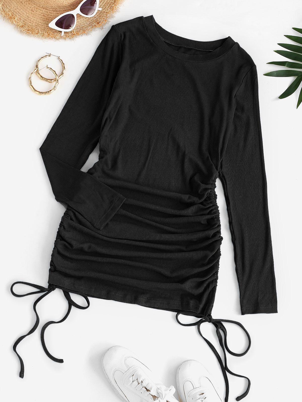 Drawstring Hem Ribbed Mini Bodycon Dress