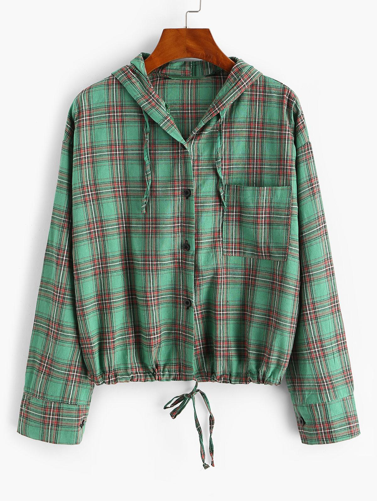 Plaid Hooded Drawstring Chest Pocket Jacket
