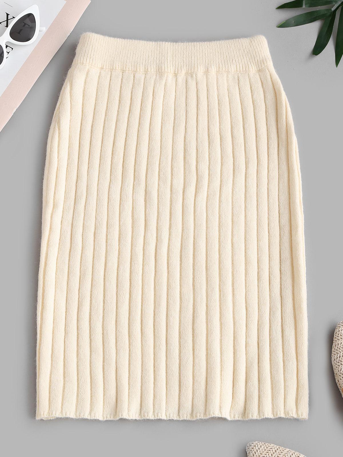 Ribbed Sheath Sweater Skirt