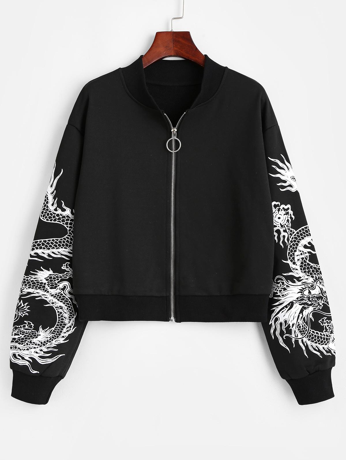 Dragon Print Oriental Drop Shoulder Jacket