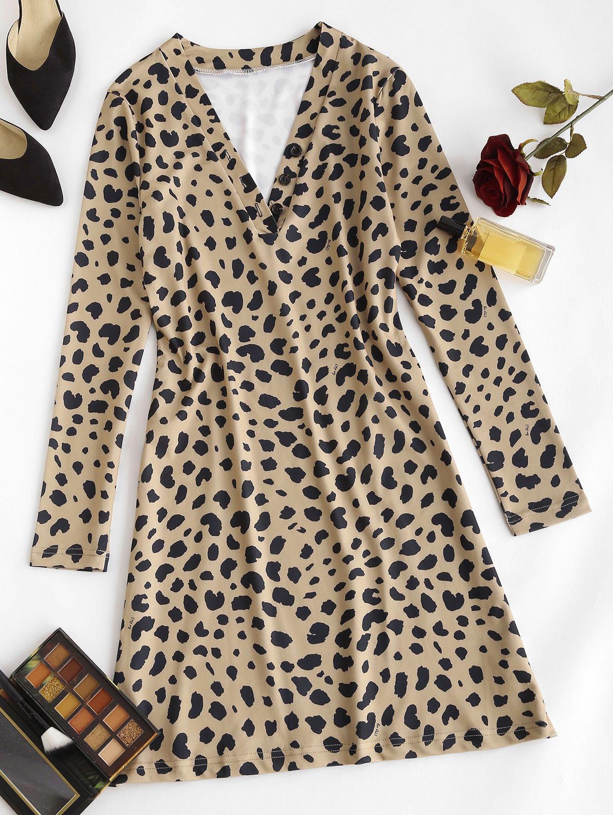 Leopard Animal Print Long Sleeve Tight Dress