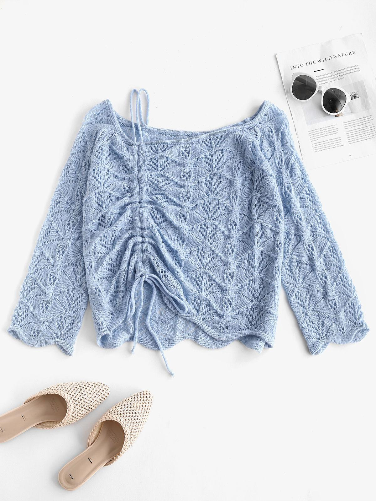 Skew Neck Cinched Openwork Sweater