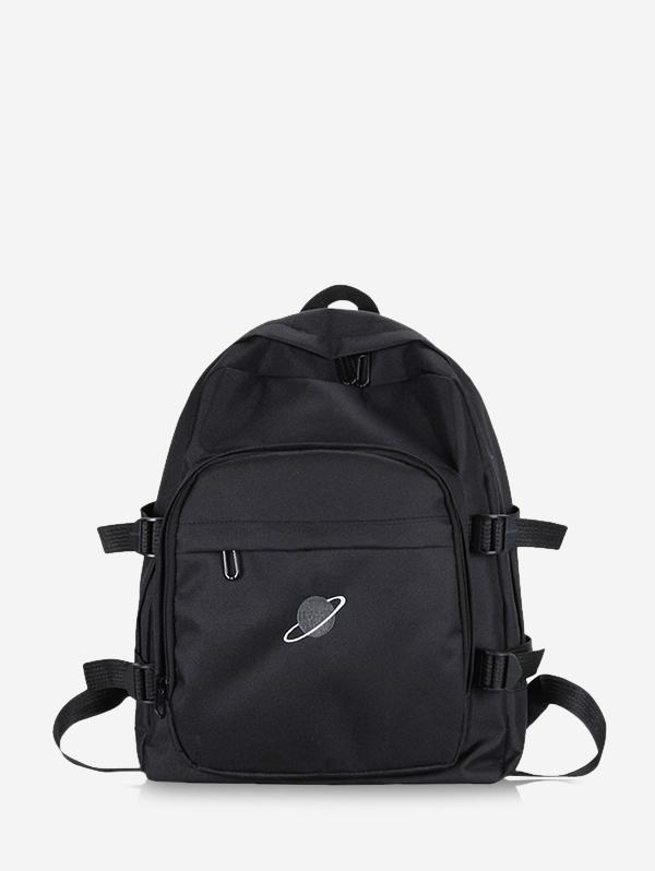 Planet Print Polyester Solid Backpack