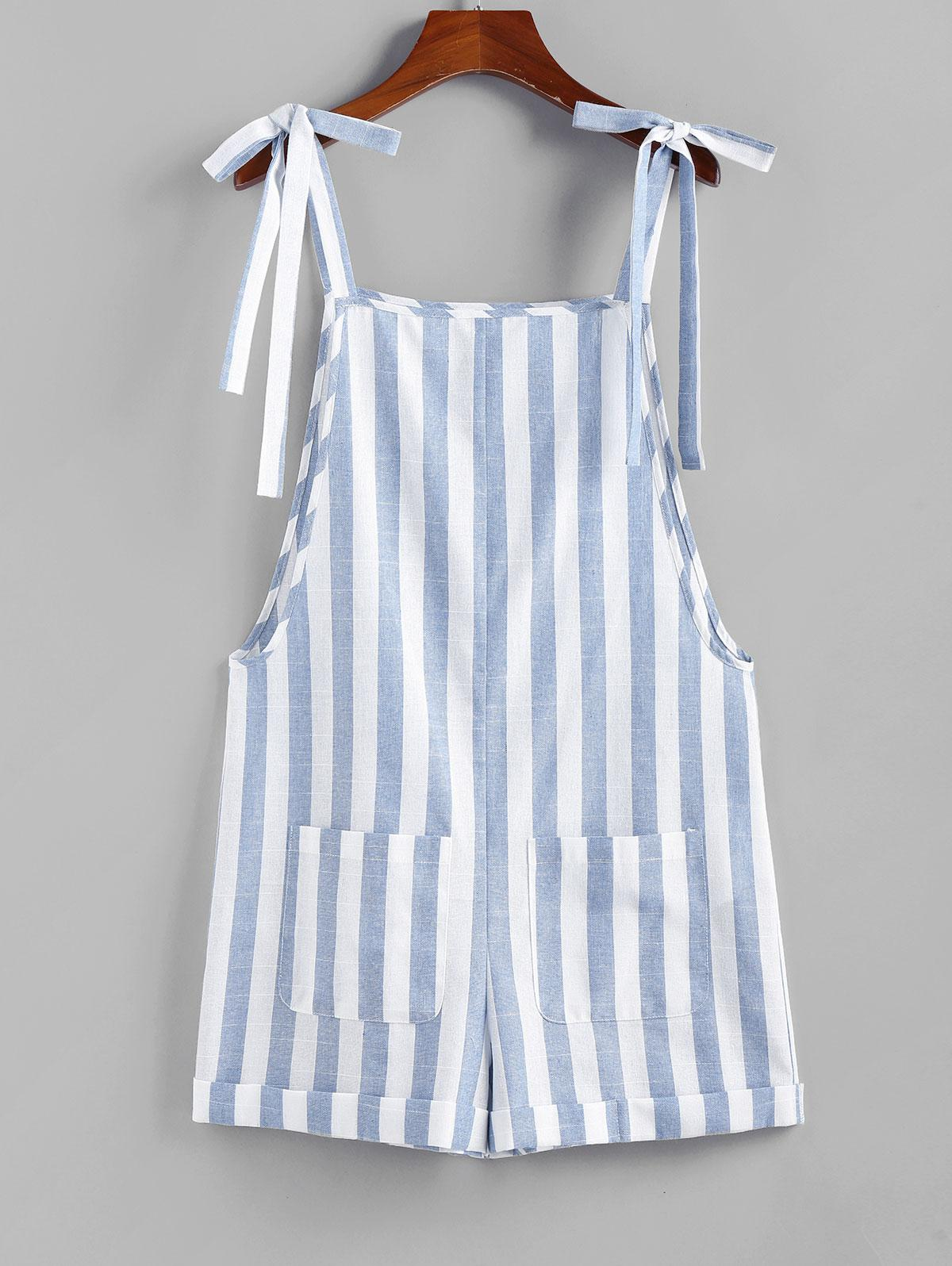 ZAFUL Striped Pocket Rolled Tie Shoulder Overall Romper