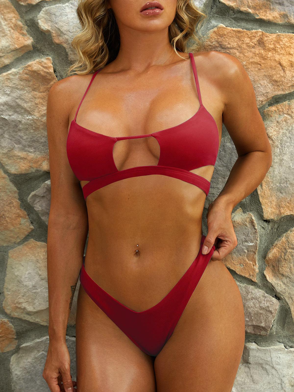 ZAFUL Cutout Textured High Leg Bikini Swimwear