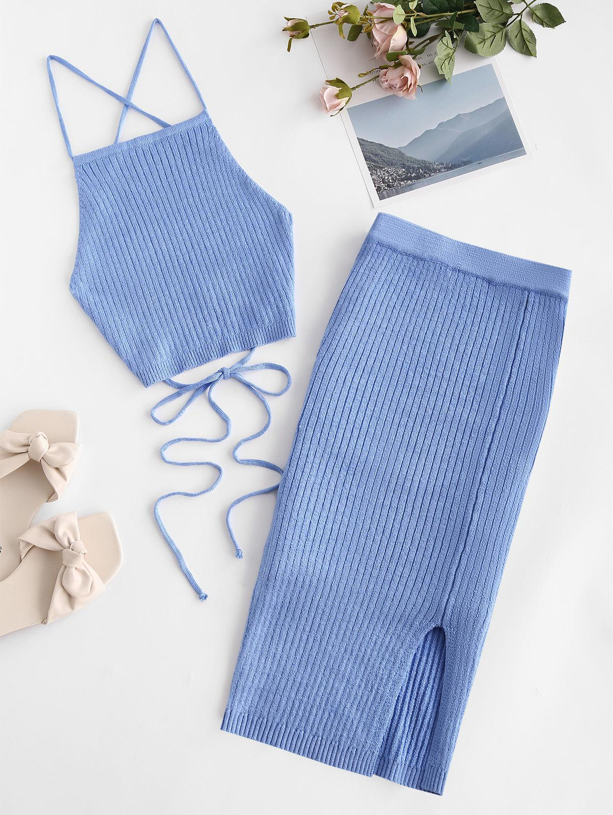 Open Back Crisscross Knitted Two Piece Dress