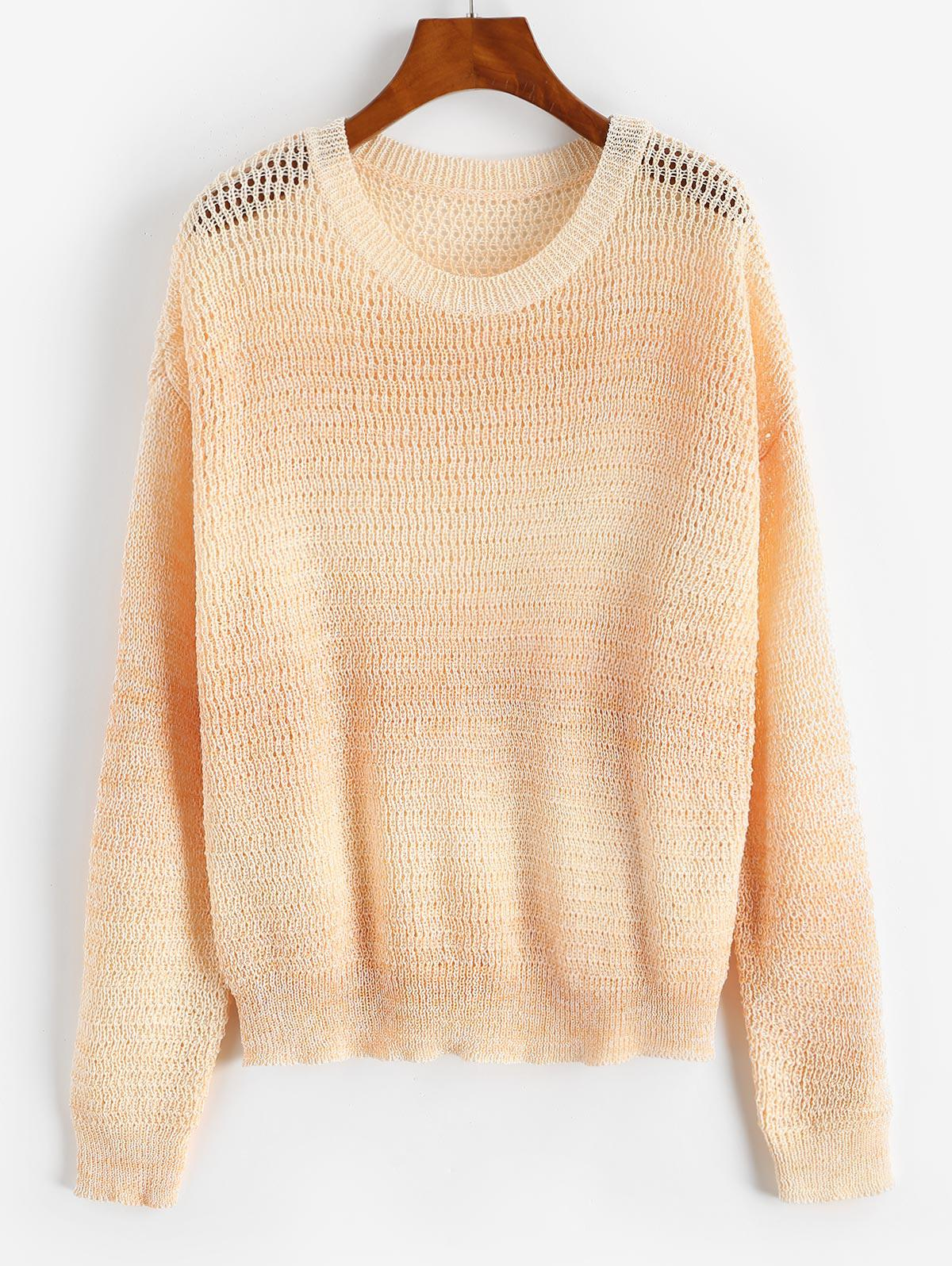 Drop Shoulder Ombre Open Knit Sweater