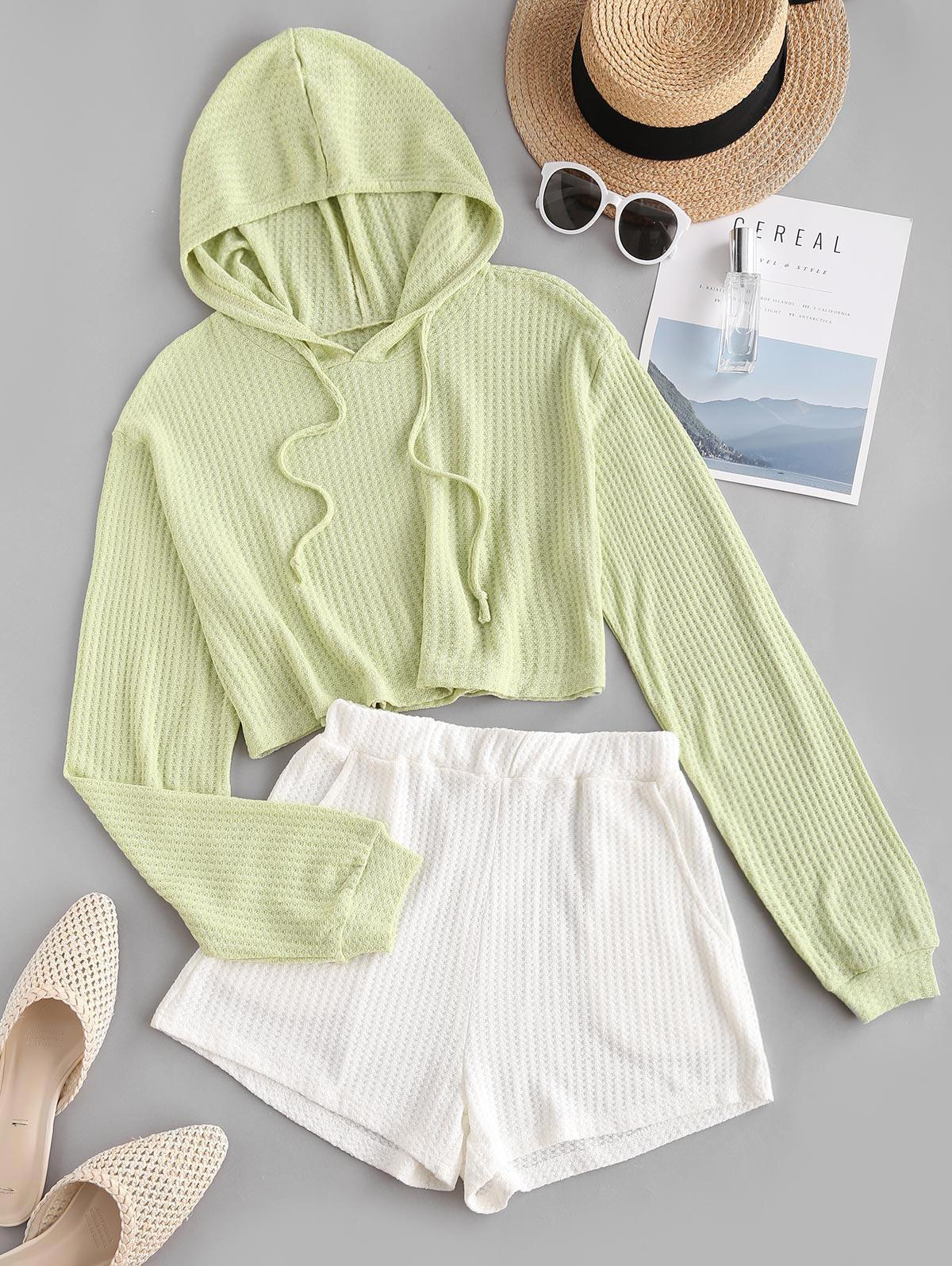 Colorblock Knitted Hooded Drop Shoulder Pocket Shorts Set