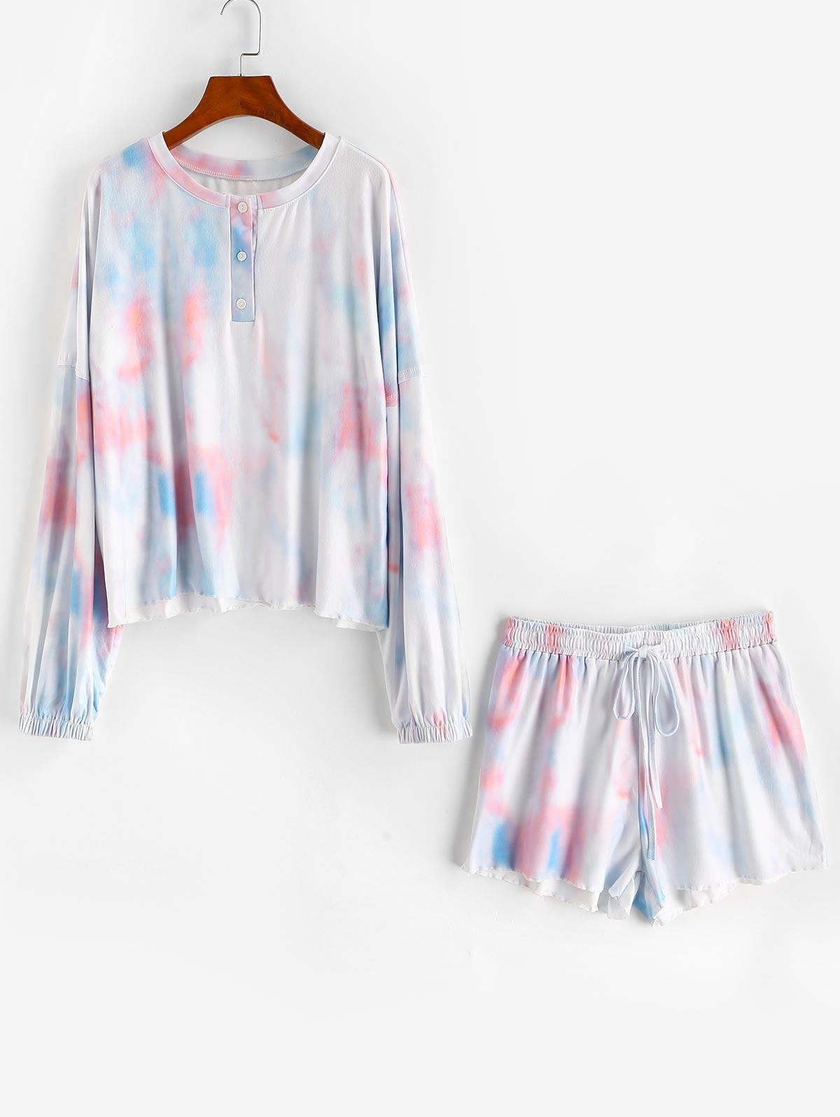 Tie Dye Henley Drop Shoulder Drawstring Shorts Set