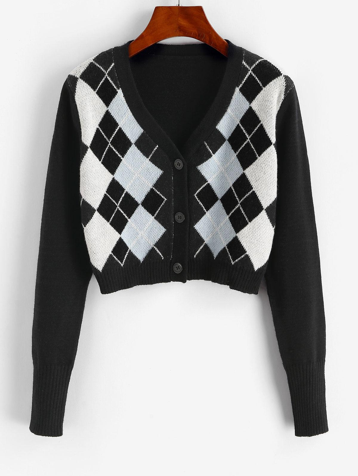 Argyle Button Up V Neck Crop Cardigan