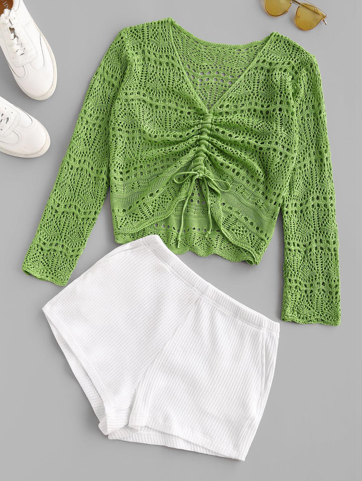 Openwork Colorblock Pocket Knitted Shorts Set