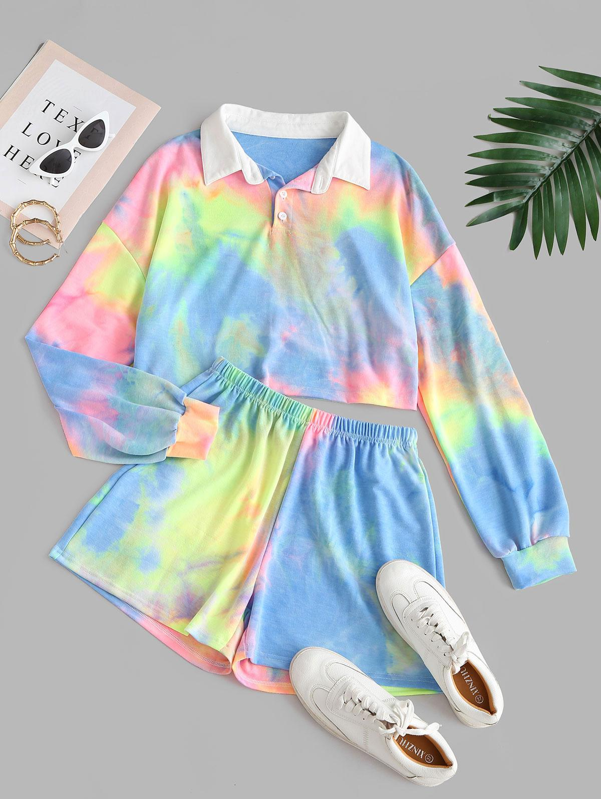 Cropped Half Buttoned Tie Dye Two Piece Set