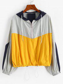 Colorblock Toggle Drawstring Jacket