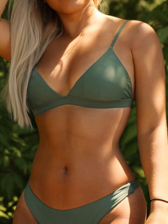 lady Padded Back Strappy Bathing Suit - GREEN L