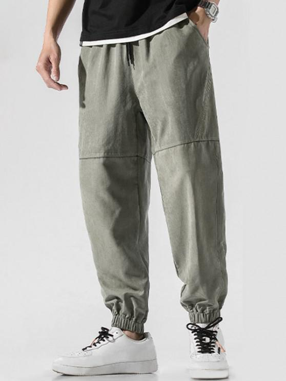 outfit Letter Embroidery Drawstring Jogger Pants - GREEN 3XL
