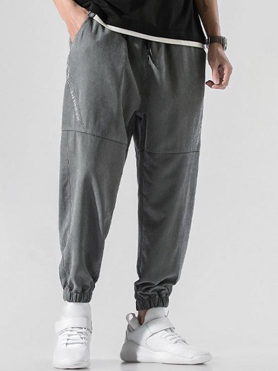 Pantalones Jogger de Bordado de Letras y con Cordón - Gris Oscuro M