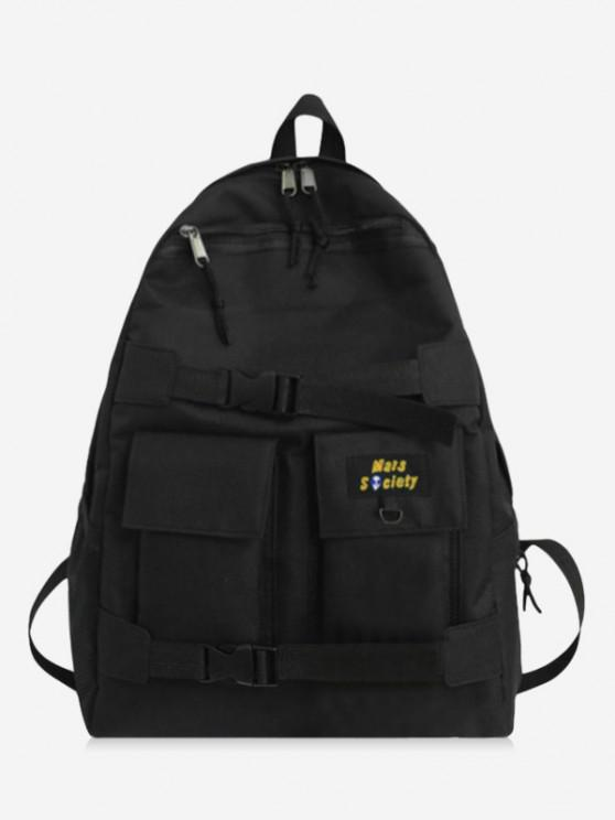 chic High Capacity Two Tone Cargo Backpack - BLACK