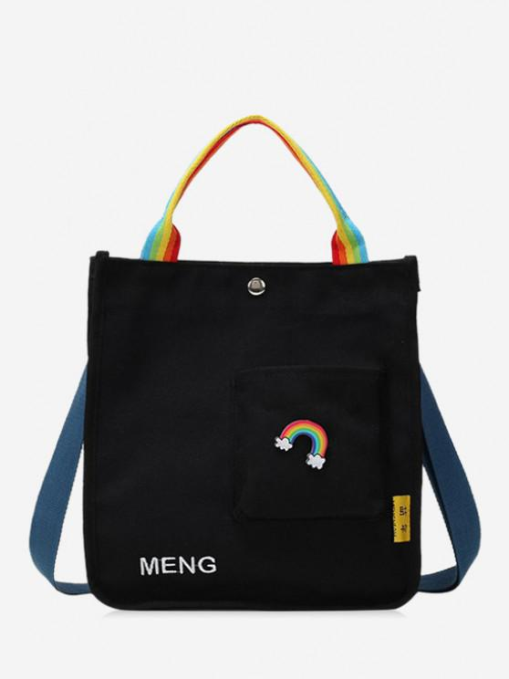 womens Rainbow Graphic Front Pocket Canvas Shoulder Bag - BLACK