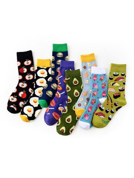 hot 8 Pairs Cartoon Food Pattern Crew Socks - MULTI