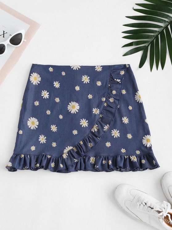 latest Daisy Ruffles Chambray Mini Skirt - BLUE M