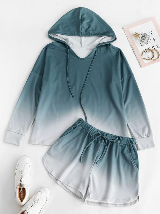 Drawstring Lounge Ombre Two Piece Set - أخضر L