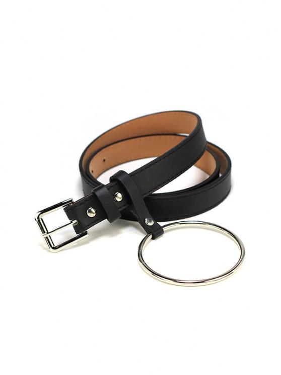 Metal Circle PU Leather Waist Belt - متعددة-A