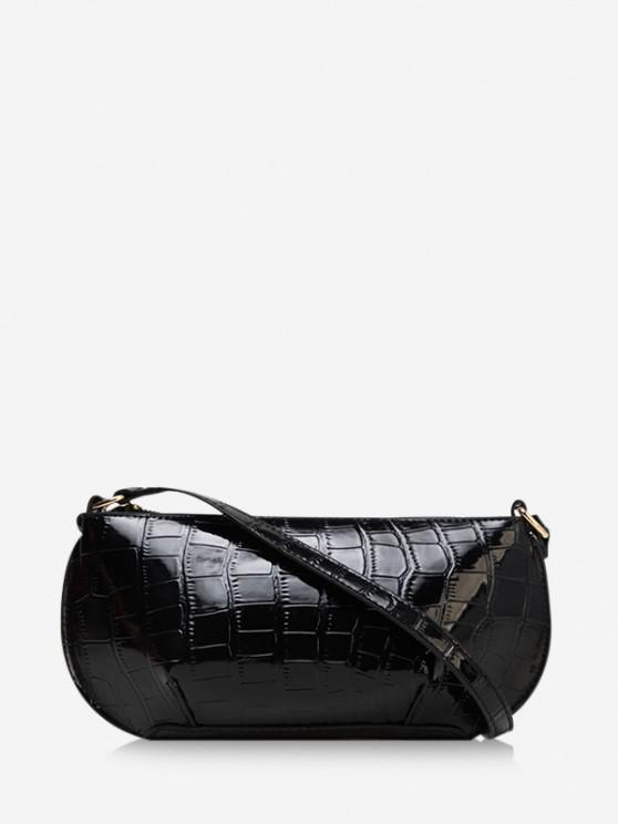 new Retro Textured Shoulder Bag - BLACK