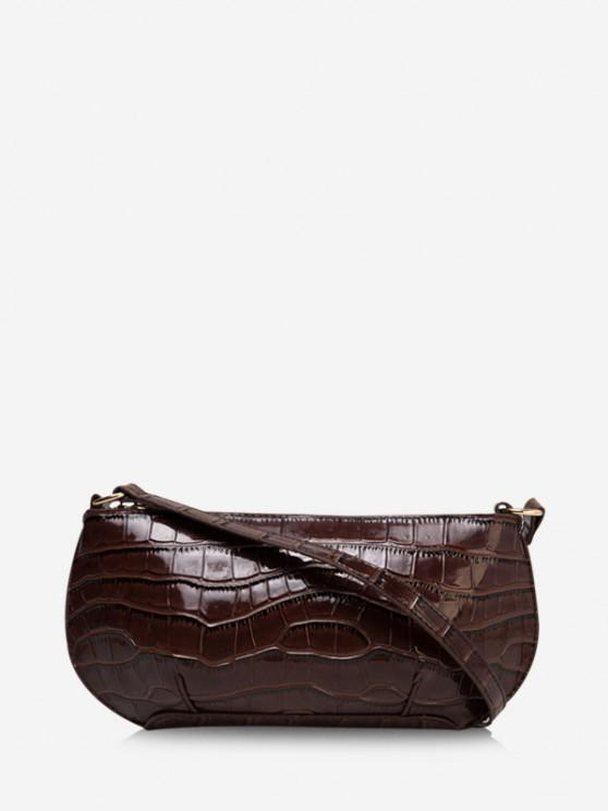 outfit Retro Textured Shoulder Bag - DEEP COFFEE
