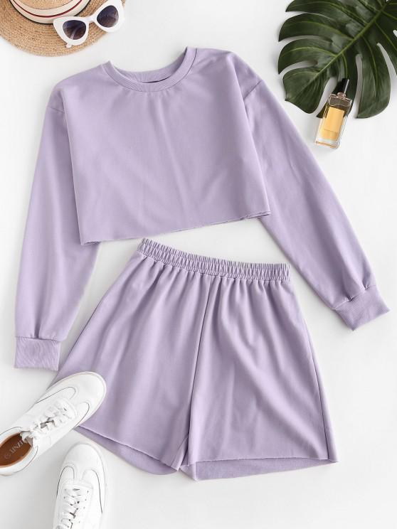unique ZAFUL French Terry Raw Cut Two Piece Shorts Set - LIGHT PURPLE XL