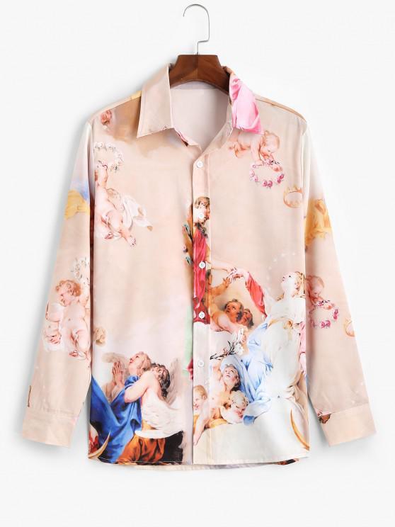 women Long Sleeve Renaissance Art Print Shirt - LIGHT PINK 2XL