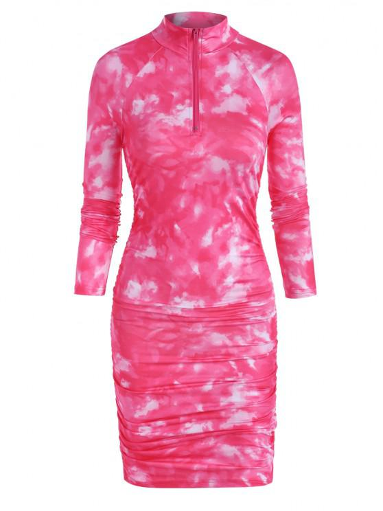 womens Zip Front Tie Dye Gathered Mini Dress - RED M