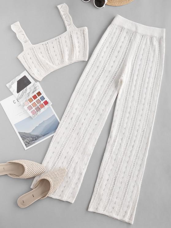 fashion Pointelle Knit Square Neck Two Piece Pants Set - WHITE L