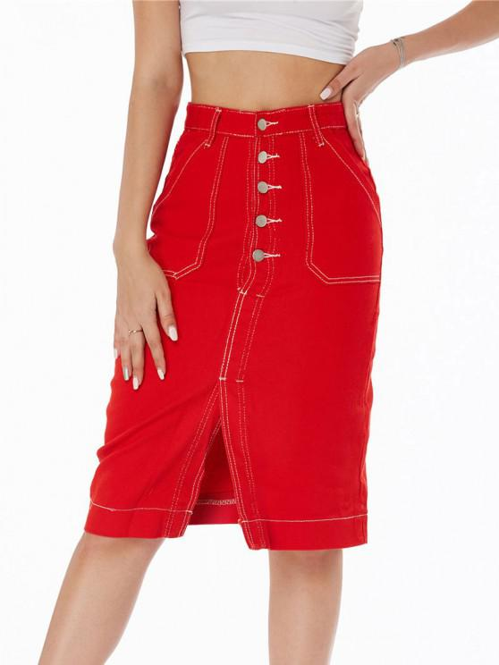 unique Topstitching Button Fly Colored Denim Skirt - RED M
