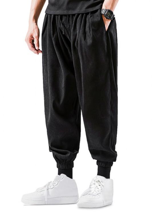 Solid Color Elastic Cuff Harem Pants - أسود XS