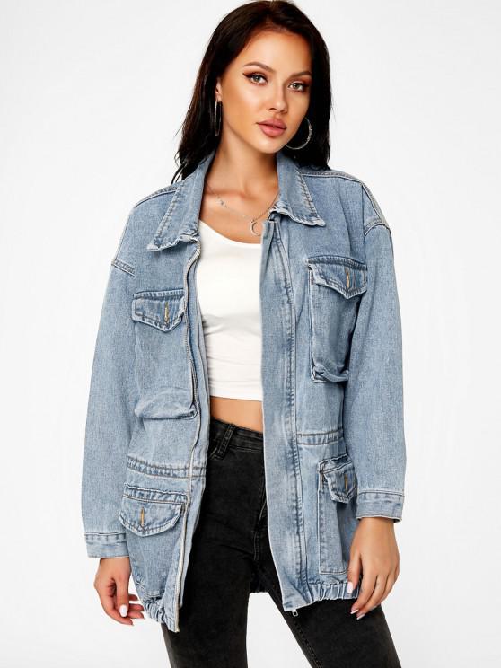 hot Grunge Boyfriend Light Wash Cargo Jean Coat - LIGHT BLUE M