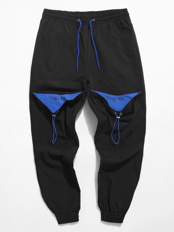 Letter Tape Contrast Drawstring Cargo Pants - أسود XS