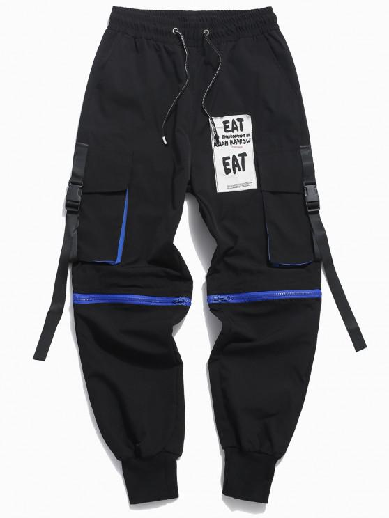 Pantalones Convertible de Carga con Aplique de Letras con Cordón - Negro XS