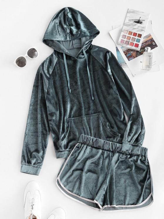 women's Pocket Velvet Raglan Sleeve Hooded Dolphin Shorts Set - DEEP BLUE M