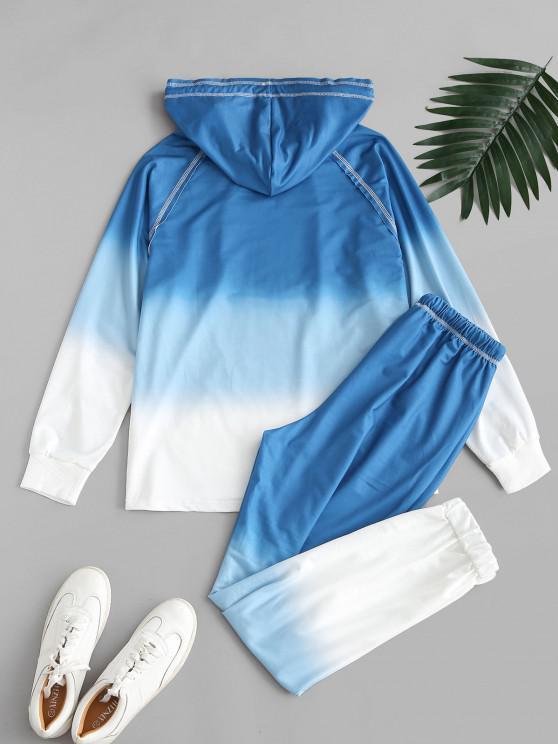 Ombre Tie Dye Front Pocket Lounge Two Piece Set - Blue S | ZAFUL