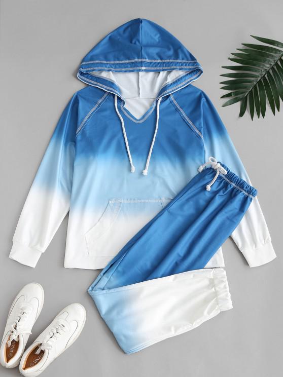 fashion Ombre Tie Dye Front Pocket Lounge Two Piece Set - BLUE L