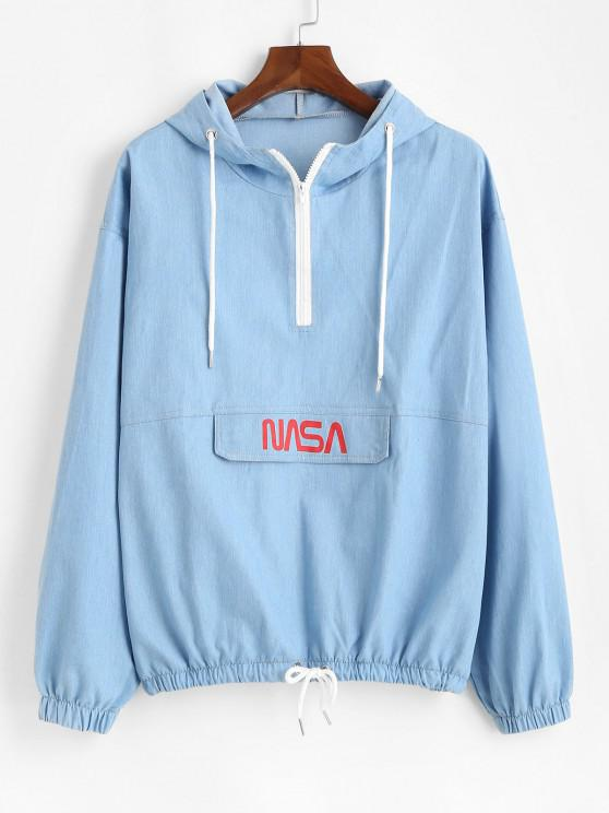 fashion Letter Print Half Zip Drop Shoulder Jean Hoodie - LIGHT BLUE L