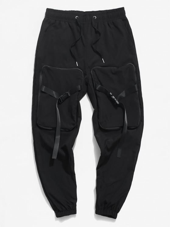 chic Hanzi Detail Release Buckle Strap Cargo Pants - BLACK XS