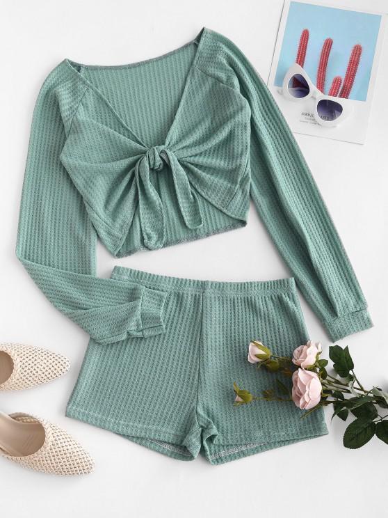 trendy Textured Tie Front Raglan Sleeve Two Piece Set - GREEN L