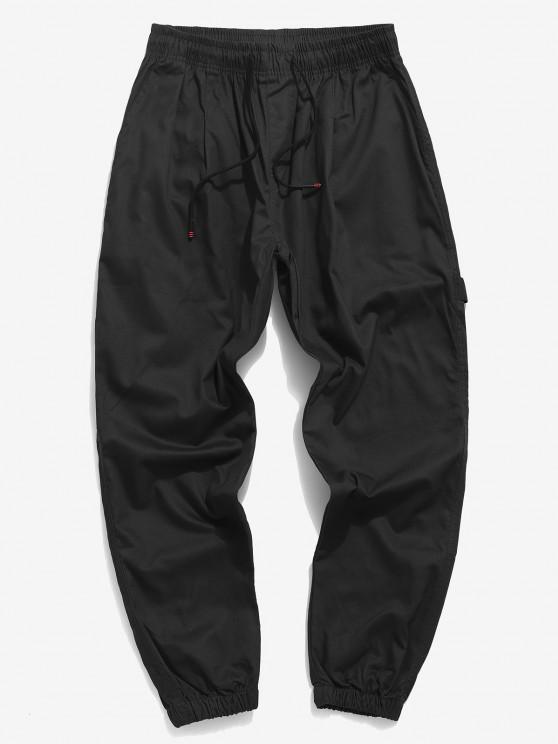 Pantalones Casuales Apliques y Cordones Estampado Letras - Negro XS