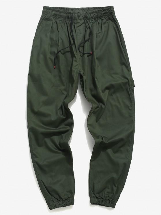 Letter Applique Tapered Drawstring Casual Pants - الجيش الأخضر XS
